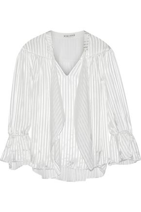 ALICE + OLIVIA Danika pussy-bow burnout satin blouse