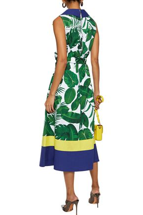 ALICE + OLIVIA Margot belted printed cotton-poplin midi dress