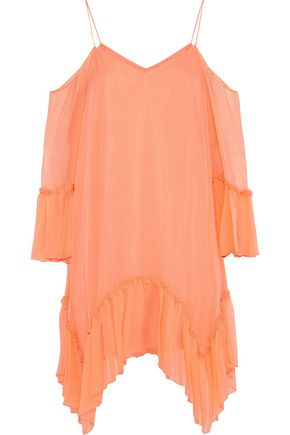 ALICE + OLIVIA Ilaria cold-shoulder silk-georgette mini dress