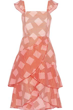 ALICE + OLIVIA Angelita tiered printed burnout satin dress