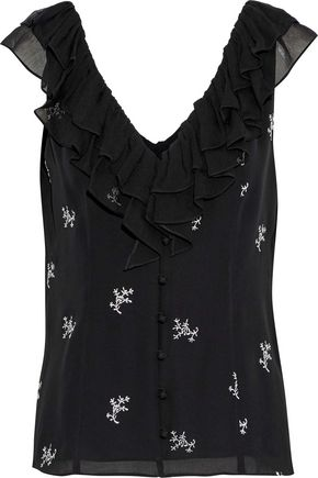 CINQ À SEPT Gia ruffle-trimmed embroidered silk-georgette top