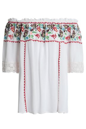 ANTIK BATIK Toukou off-the-shoulder embroidered crepe top