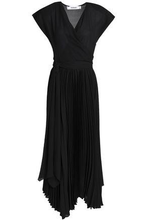 CHALAYAN Wrap-effect pleated chiffon midi dress