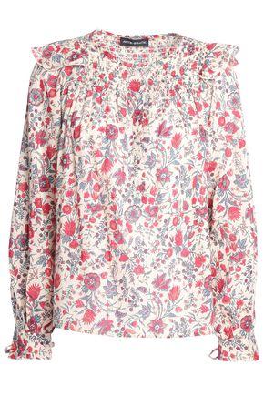 ANTIK BATIK Smocked floral-print cotton blouse