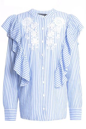 ANTIK BATIK Embroidered ruffled striped cotton-poplin shirt