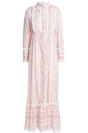 ANTIK BATIK Lace-trimmed printed cotton-gauze maxi dress