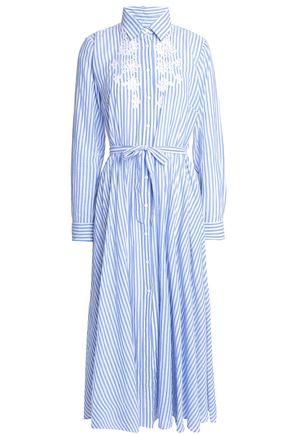 ANTIK BATIK Embroidered striped cotton-poplin midi shirt dress