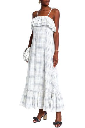 ANTIK BATIK Tasseled ruffled checked cotton-gauze maxi dress