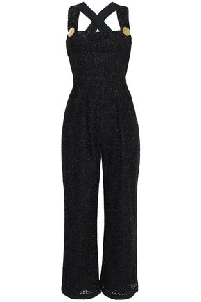 EMILIA WICKSTEAD Button-embellished tinsel jumpsuit
