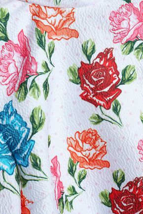 EMILIA WICKSTEAD Cropped printed cloqué turtleneck top