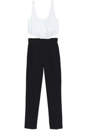 BLACK HALO Ruffled crepe crop top and slim-leg pants set