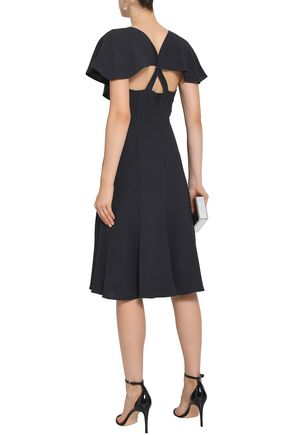 BLACK HALO Fluted cutout crepe dress