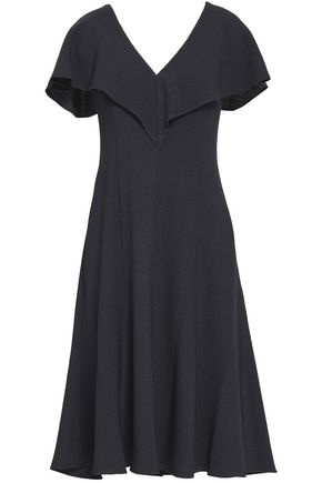 BLACK HALO Fluted cutout crepe dress
