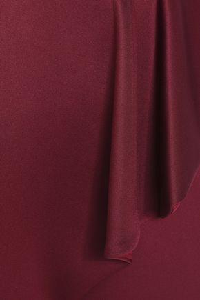 BLACK HALO Wrap-effect draped neoprene dress