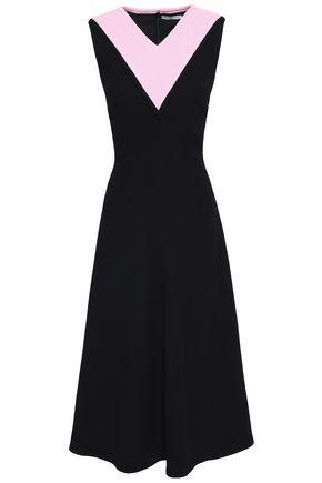 EMILIA WICKSTEAD Two-tone wool-crepe midi dress