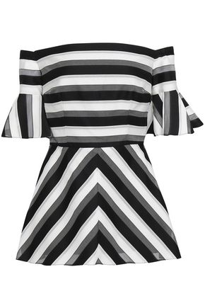 LELA ROSE Off-the-shoulder striped cotton and silk-blend peplum top