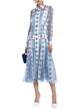 EMILIA WICKSTEAD Dani floral-print silk-organza midi shirt dress