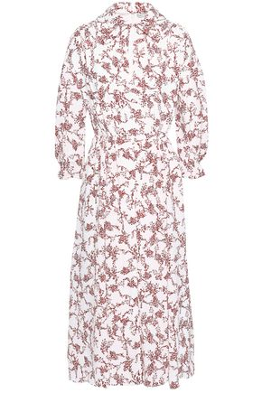 EMILIA WICKSTEAD Pleated floral-print crepe midi dress