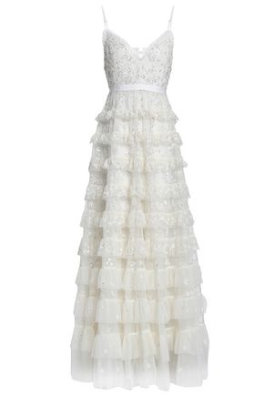 NEEDLE & THREAD Open-back tiered embellished tulle gown