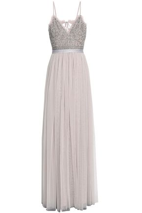 NEEDLE & THREAD Embellished georgette and tulle gown