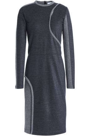 PACO RABANNE Open knit-paneled wool-blend dress