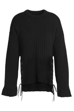 PACO RABANNE Lace-up quilted stretch-knit top