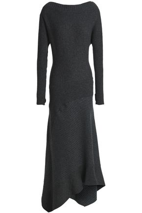 PACO RABANNE Mélange ribbed-knit wool-blend midi dress