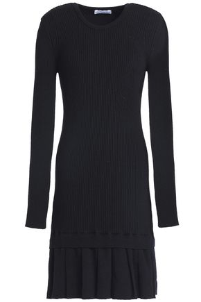PACO RABANNE Ribbed-knit merino wool fluted mini dress