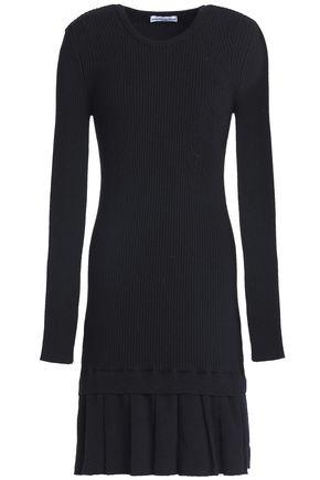 PACO RABANNE | Paco Rabanne Ribbed-knit Merino Wool Fluted Mini Dress | Goxip