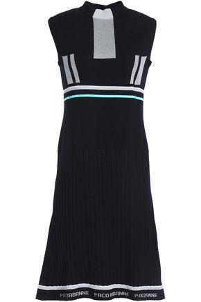 PACO RABANNE Striped jacquard-knit wool-blend mini dress