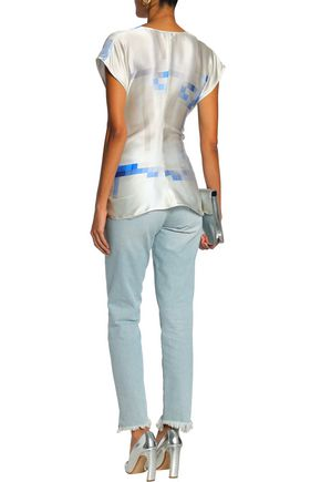 PACO RABANNE Draped printed silk-satin top