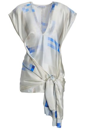 PACO RABANNE Draped printed silk-satin top