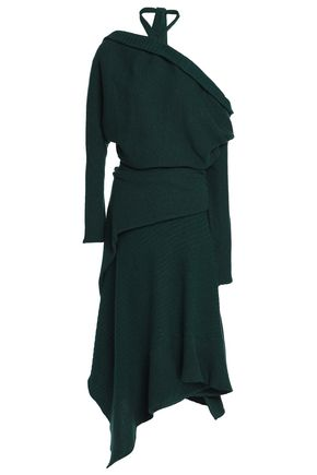 PACO RABANNE Off-the-shoulder ribbed wool-blend midi dress