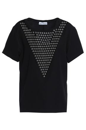 PACO RABANNE Eyelet-embellished stretch-jersey T-shirt