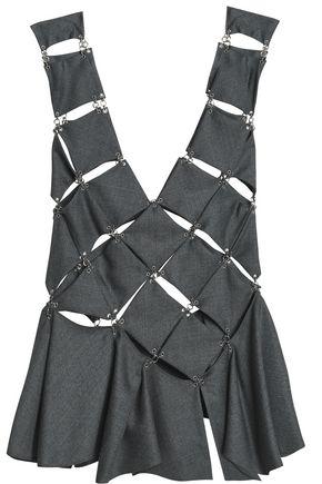 PACO RABANNE Cutout wool-twill top