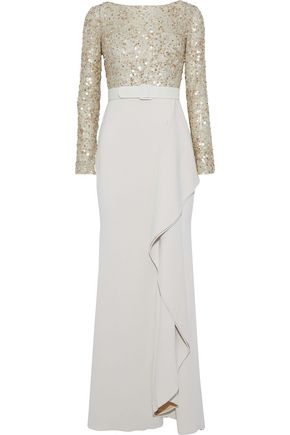 BADGLEY MISCHKA Embellished mesh-paneled ruffled stretch-cady gown