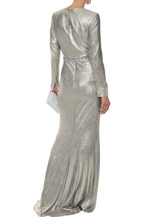 BADGLEY MISCHKA クリスタル付き ラメ ロングドレス