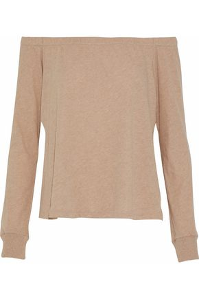 ENZA COSTA Off-the-shoulder mélange cotton and cashmere-blend jersey top