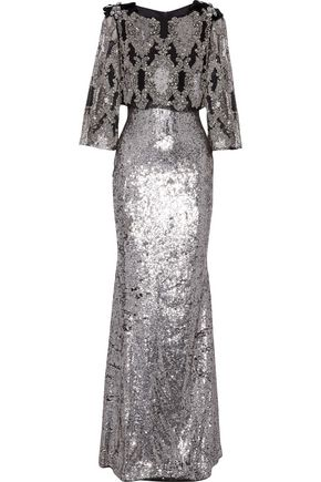 BADGLEY MISCHKA Layered embellished tulle gown