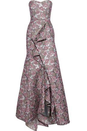 BADGLEY MISCHKA Strapless draped brocade gown