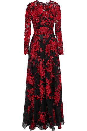 BADGLEY MISCHKA Floral-appliquéd embroidered tulle gown