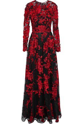 BADGLEY MISCHKA フローラルアップリケ付き 刺繍入り チュール ロングドレス