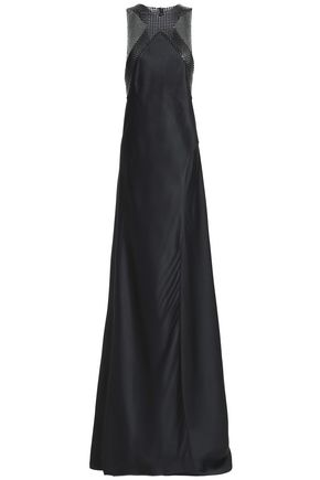 PACO RABANNE Embellished satin-crepe gown