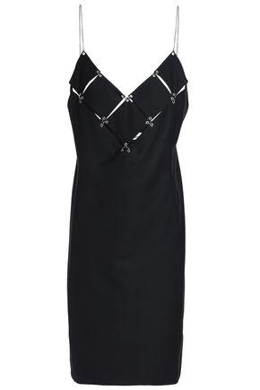 PACO RABANNE Cutout embellished wool mini dress