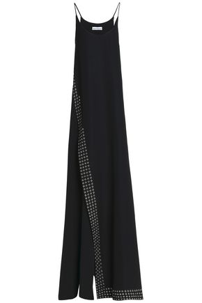 PACO RABANNE Eyelet-embellished crepe gown