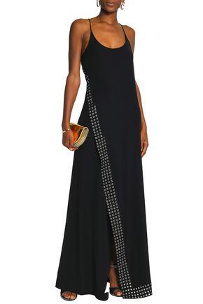 PACO RABANNE Eyelet-embellished crepe gown