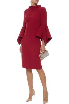 BADGLEY MISCHKA Fluted cady turtleneck dress