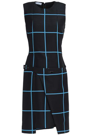 PACO RABANNE Wrap-effect checked wool and silk-blend mini dress