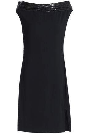 PACO RABANNE Chainmail-trimmed satin-crepe mini dress