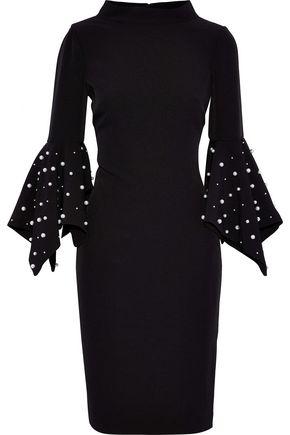 BADGLEY MISCHKA Faux pearl-embellished crepe dress